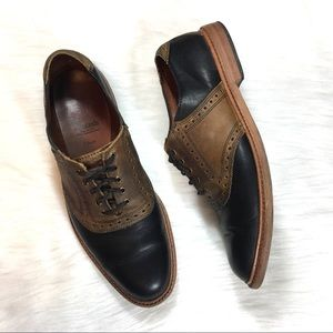 """Allen Edmonds """"Finch"""" Oxfords, Black/Tan, Size 10D"""